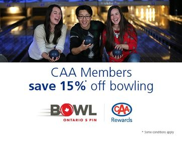 CAA Members save 15%* off bowling